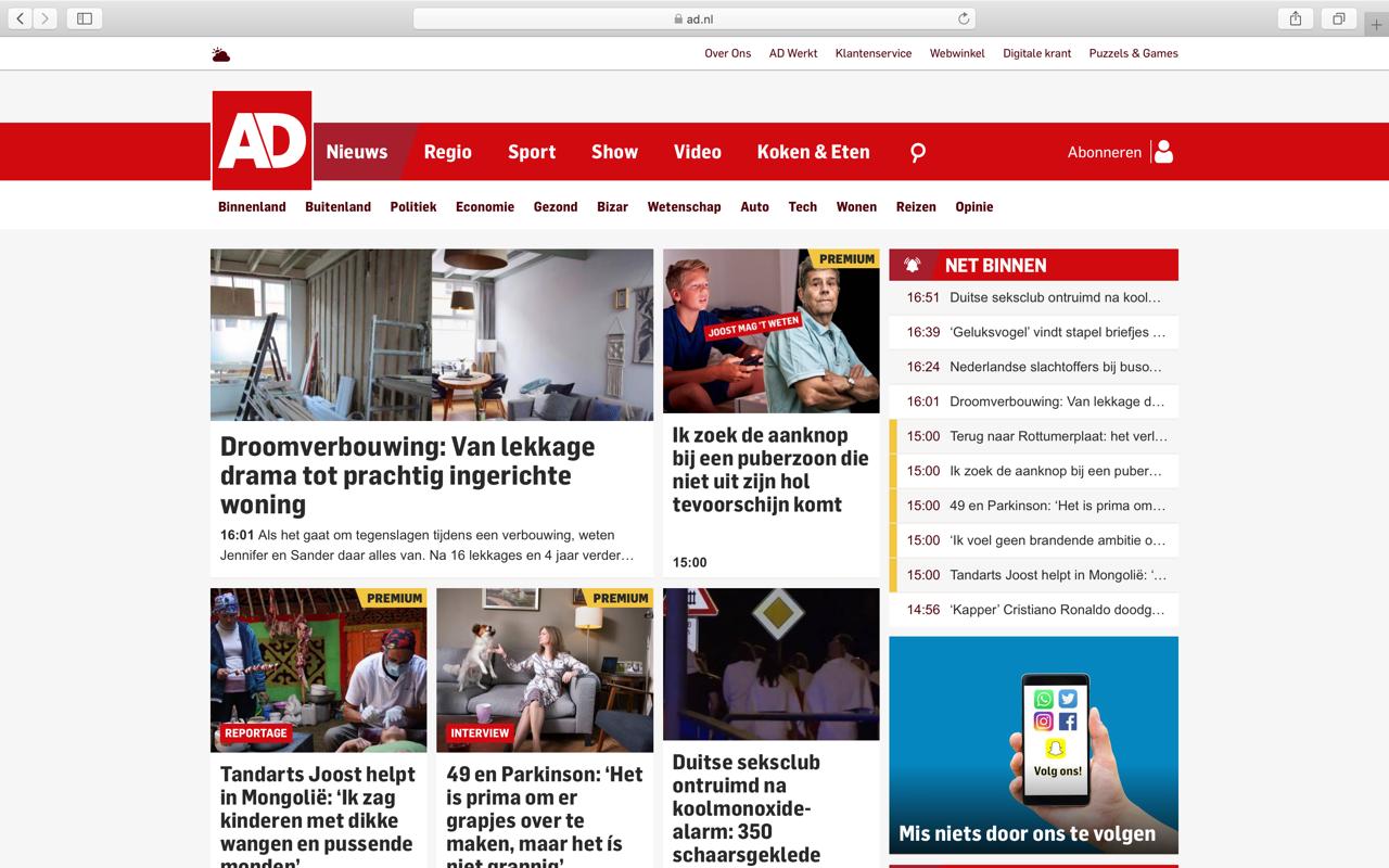 Een screenshot van de AD.nl website waarop een artikel te zien is over de rennovatie van Jennifer Colajezzi haar woning in 2019.