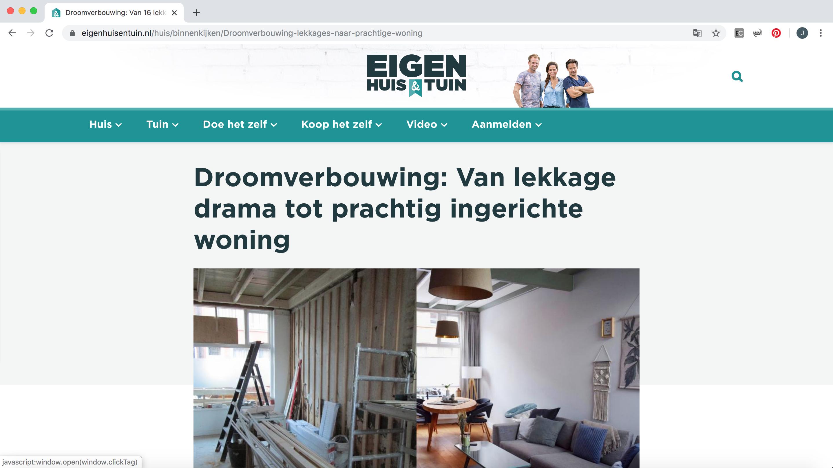 Een screenshot van de eigenhuisentuin.nl website waarop een artikel te zien is over de rennovatie van Jennifer Colajezzi haar woning in 2019.