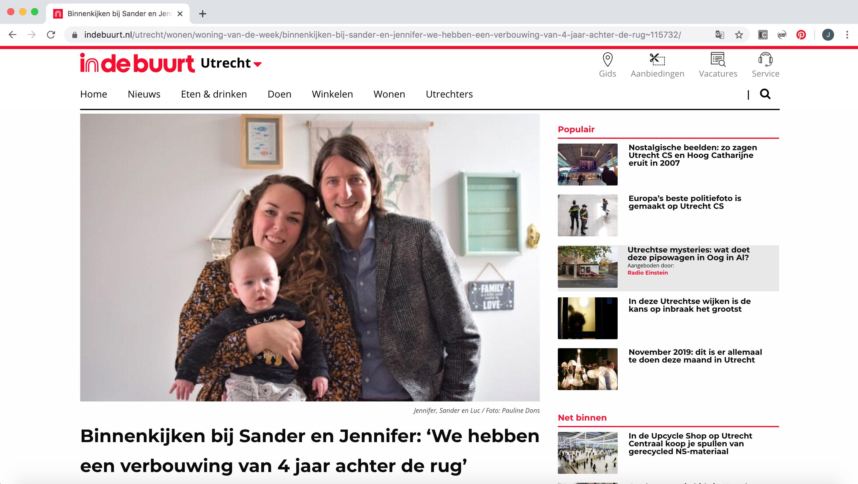 Een screenshot van de indebuurtutrecht.nl website waarop een artikel te zien is over de rennovatie van Jennifer Colajezzi haar woning in 2019.